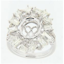 2.6 CTW Diamond Semi Mount Ring 14K White Gold - REF-249M8F