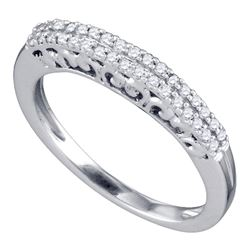 Round Pave-set Diamond Slender Bridal Wedding Band 1/5 Cttw 10k White Gold