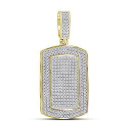 Mens Diamond Dog Tag Charm Pendant 7/8 Cttw 10kt Yellow Gold