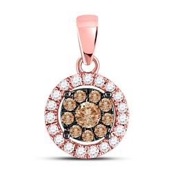 Round Brown Diamond Circle Cluster Pendant 1/3 Cttw 14kt Rose Gold