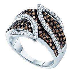 Round Brown Diamond Fashion Ring 1.00 Cttw 10kt White Gold