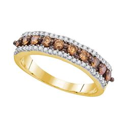 Round Brown Diamond Band Ring 5/8 Cttw 10kt Yellow Gold