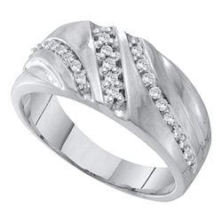 Mens Round Prong-set Diamond Triple Row Wedding Band 1/4 Cttw 10kt White Gold