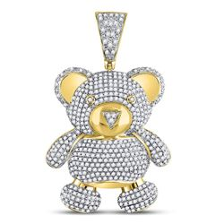 Mens Diamond Teddy Bear Charm Pendant 2.00 Cttw 10kt Yellow Gold
