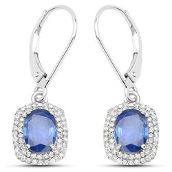 2.36 ctw Sapphire Blue & Diamond Earrings 14K White Gold - REF-95A4M