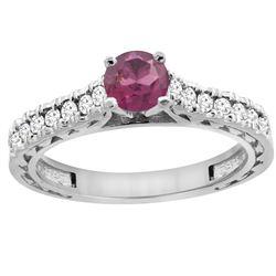 0.90 CTW Rhodolite & Diamond Ring 14K White Gold - REF-62R6H