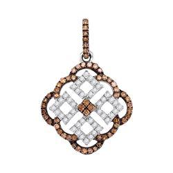 Round Brown Diamond Square Pendant 1/2 Cttw 10kt White Gold
