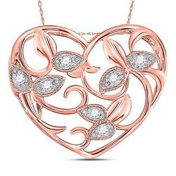 Diamond Floral Heart Pendant 1/6 Cttw 14kt Rose Gold