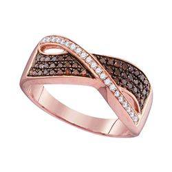 Round Red Color Enhanced Diamond Crossover Band Ring 1/3 Cttw 10kt Rose Gold