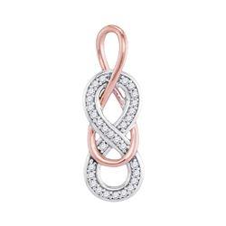 Diamond Double Linked Rose-tone Infinity Pendant 1/10 Cttw 10kt White Gold