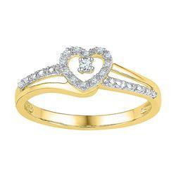 Diamond Heart Promise Bridal Ring 1/20 Cttw 10kt Yellow Gold