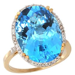 13.71 CTW Swiss Blue Topaz & Diamond Ring 14K Yellow Gold - REF-59V4R