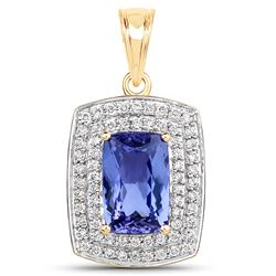 4.88 ctw Tanzanite & Diamond Pendant 14K Yellow Gold - REF-358X8Y