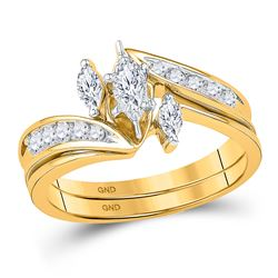 Marquise Diamond 3-Stone Bridal Wedding Engagement Ring Band Set 1/2 Cttw 10kt Yellow Gold