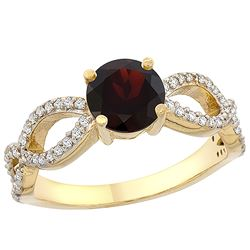 1.26 CTW Garnet & Diamond Ring 14K Yellow Gold - REF-49H9M