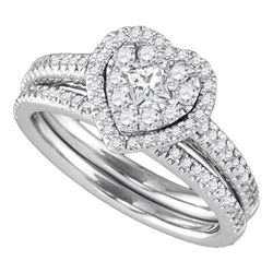Round Diamond Heart-shaped Halo Wedding Bridal Ring Set 3/4 Cttw 14k White Gold