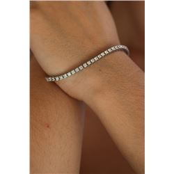 Natural 3.30 ctw Diamond Eternity Tennis Bracelet 14K White Gold - REF-289W2H