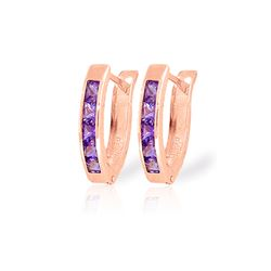Genuine 0.85 ctw Amethyst Earrings 14KT Rose Gold - REF-24P3H