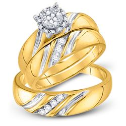 Diamond His & Hers Matching Trio Wedding Bridal Engagement Ring Band Set 1/5 Cttw 10k Yellow Gold