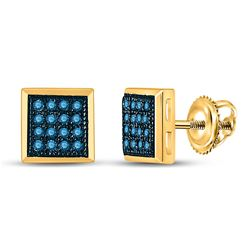 Blue Color Enhanced Diamond Square Cluster Screwback Stud Earrings 1/10 Cttw 10k Yellow Gold