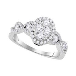 Diamond Oval Cluster Twist Ring 1.00 Cttw 10kt White Gold