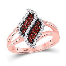 Round Red Color Enhanced Diamond Oval Cluster Split-shank Ring 1/3 Cttw 10kt Rose Gold