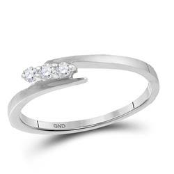 Diamond 3-stone Promise Bridal Engagement Ring 1/10 Cttw 10kt White Gold