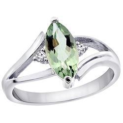 1.04 CTW Amethyst & Diamond Ring 14K White Gold - REF-31K2W