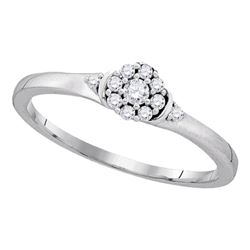 Diamond Cluster Promise Bridal Ring 1/6 Cttw 10kt White Gold