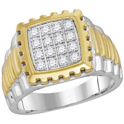 Mens Diamond Notched Frame Square Cluster Ring 1/2 Cttw 10kt Two-tone Gold