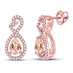 Pear Morganite Fashion Earrings 1.00 Cttw 10kt Rose Gold