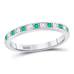 Round Emerald Diamond Alternating Stackable Band Ring 1/4 Cttw 10kt White Gold
