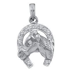 Diamond Lucky Horseshoe Pendant 1/10 Cttw 14kt White Gold