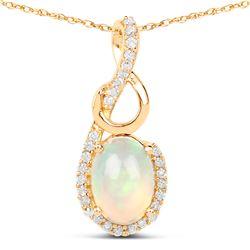 0.57 ctw Ethiopian Opal & Diamond Pendant 14K Yellow Gold - REF-30W2M
