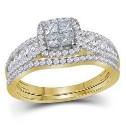 Diamond Halo Bridal Wedding Engagement Ring Band Set 1.00 Cttw 14kt Yellow Gold