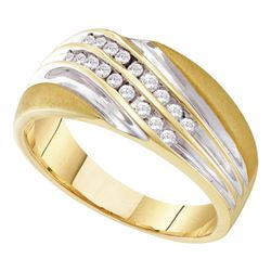 Mens Round Channel-set Diamond Diagonal Double Row Wedding Band 1/4 Cttw 10kt Yellow Two-tone Gold