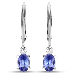 0.88 ctw Tanzanite Earrings 14K White Gold - REF-27R4K