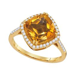 Diagonal Cushion Citrine Solitaire Diamond Ring 2-3/4 Cttw 14kt Yellow Gold