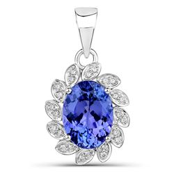 4.04 ctw Tanzanite & Diamond Pendant 14K White Gold - REF-182T2X