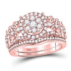 Diamond Bridal Wedding Engagement Ring Band Set 1.00 Cttw 14kt Rose Gold
