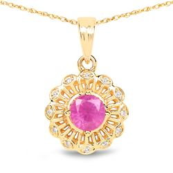 0.59 ctw Ruby & White Diamond Pendant 14K Yellow Gold - REF-33M2F