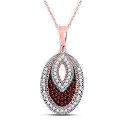 Round Red Color Enhanced Diamond Oval Pendant 1/5 Cttw 10kt Rose Gold