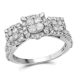 Diamond Triple Cluster Bridal Wedding Engagement Ring 1.00 Cttw 10kt White Gold