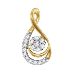 Diamond Flower Cluster Teardrop Pendant 1/10 Cttw 10kt Yellow Gold