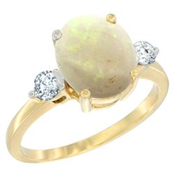 1.61 CTW Opal & Diamond Ring 14K Yellow Gold - REF-68M3A