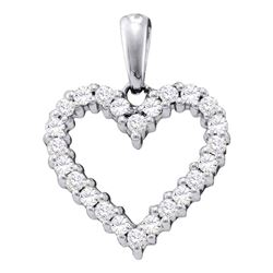 Round Pave-set Diamond Heart Pendant 1/3 Cttw 14kt White Gold