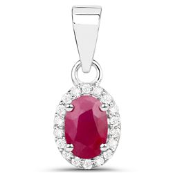 0.65 ctw Ruby & White Diamond Pendant 14K White Gold - REF-30M2R