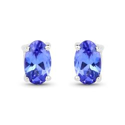 0.50 ctw Tanzanite Earrings 14K White Gold - REF-11K6T
