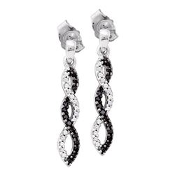 Round Black Color Enhanced Diamond Infinity Dangle Earrings 1/6 Cttw 14kt White Gold