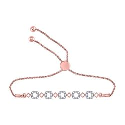 Diamond Linked Squares Bolo Bracelet 1/4 Cttw 10kt Rose Gold